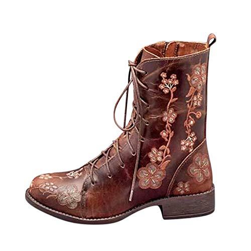 Yowablo Stiefel Boots Stiefeletten Winterstiefel Stiefel Frauen Mode Casual Square Heels Langer Knöchel Slip On Schuhe (37,Braun)