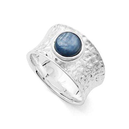 DUR Breiter gehämmerter Ring mit Blauem Kyanit, Sterling-Silber 925 Größe 58 (18.5) - Damen