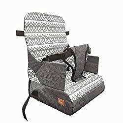 FEEDING: Perfect for making the child feel part of the family at the dining table. Fits most dining chairs. STORAGE: Convenient storage compartments in Base. Ideal for baby bottles, nappies and other essentials. The Booster itself folds for easy stor...