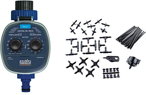 Aqua Control C4099O Programador de Riego para Jardín para Todo Tipo de Grifos, Apertura a 0 Bar, Antiguo C4099N + KITG002 Pack Básico de Accesorios de 4 mm para Todo Tipo de Riego por Goteo Gota