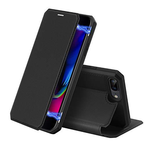 DUX DUCIS Funda para iPhone 7 Plus / 8 Plus - 5.5', Cuero Premium Cierre Magnético Flip Folio Carcasa para Apple iPhone 7 Plus / 8 Plus (Negro)