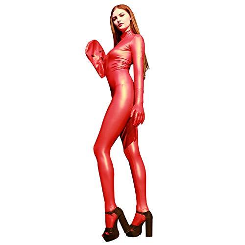 YGCLOTHES Femme Catsuit Costume Sexy Faux Cuir PVC Latex Combinaison Bodysuit Robe en Cuir Adultes Manches Longues Dancewear Clubwear,Rouge,E3XL