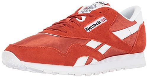 Reebok Men's Classic Nylon Sneaker, Burnt Amber/White, 8.5