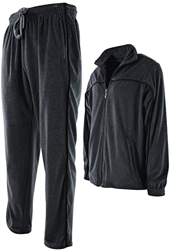 Mens Velour Tracksuit with Zippered Pockets (205-Charcoal, Medium)