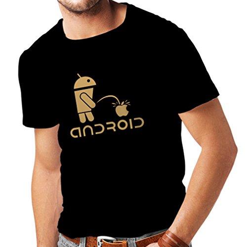 Camisetas Hombre el Divertido Robot y la Manzana - Citas Divertidas, Regalos humorísticos (Medium Negro Oro)