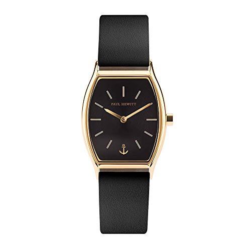 PAUL HEWITT Armbanduhr Damen Modern Edge Line Black Sunray - Damen Uhr (Gold), Damenuhr mit Lederarmband (Schwarz), schwarzes Ziffernblatt