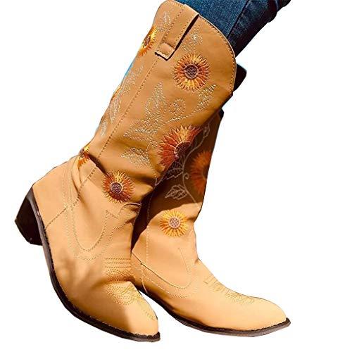 UMore Botas Altas Mujer Invierno 2020 Zapatos Tacon Ancho Bajo Nieve Piel Forrado Calentitas Botas Antideslizante Peso Ligero Botines Cremallera Casuales