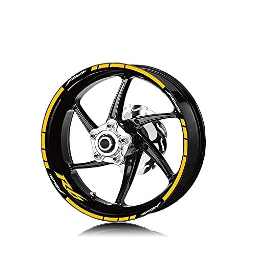 Protector DE Tanque Moto para Yam-AH-A R6 R6 Neumático De Motocicleta Impermeable Logotipo De La Rueda Pegatina Llanta Personalidad Traje De Rayas Reflectantes (Color : C)