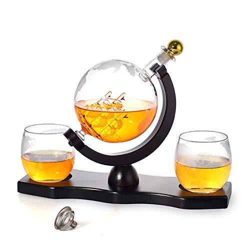 ZYLZL Barware Whisky Decanter Ship Set, dispensador de alcohol de garrafa de 900 ml con 2 vasos, base de pino, embudo de vertido y grifo de acero inoxidable,Transparente,900ML