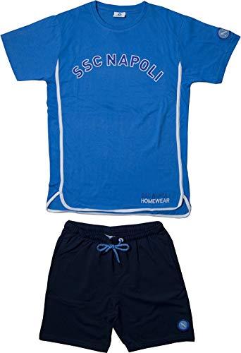 ssc napoli P19b1n90602, Completo Life Style Uomo: Maglia Girocollo con Pantaloncini Unisex – Adulto, Celeste, M