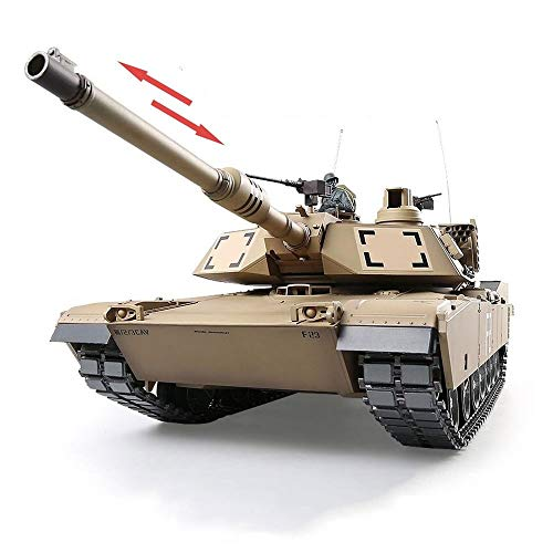 AEDWQ RC Tanque De Control Remoto, 1/16 M1A2 Abrams Estadounidense 2.4Ghz Tanque De Batalla Principal Retráctil Del Barril De Arma, Engranajes De Acero Caja De Cambios, Pistas De Metal Y Piñón De La R