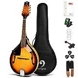 Vangoa Instrumento musical de mandolina para zurdos, mandolina acústica de 8 cuerdas, estilo para principiantes con la mano izquierda, Sunburst