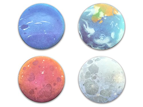 Planet Shaped Self-Stick Notes, Scratch Pads, 4 Pads/Pack, 30 Sheets/Pad (Earth Sedna Neptune Moon)
