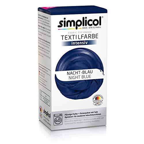 Simplicol Textilfarbe intensiv (18 Farben), Nacht-Blau 1808, Dunkelblau: Einfaches Färben in der Waschmaschine, All-in-1 Komplettpackung