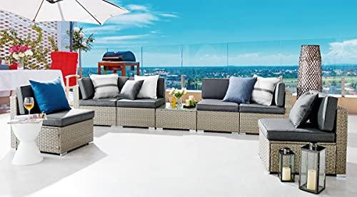 Furniturebox UK Orlando Grey Rattan Modular Outdoor Garden Sofa Set Furniture PE Resin Rattan Corner Sofa Coffee Table Grey Cushions