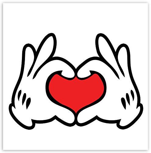 Biomar Labs® 1 x PVC vinyl bilklistermärke kärlek hjärta händer Musse Pigg musmatta för stötfångare fönster Moto hjälm B 250
