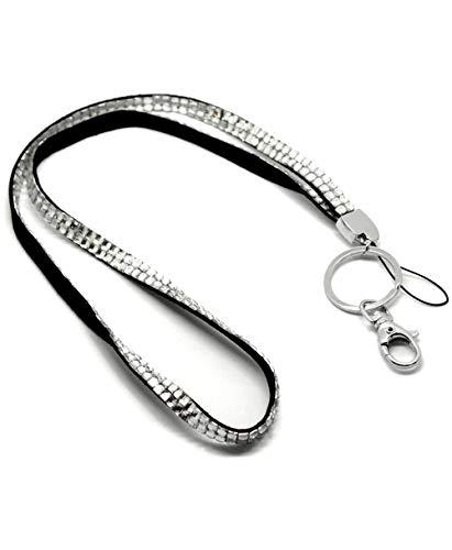 CKB Ltd 1x Bling ID Clear Acryl Rhinestone Stil Lanyard Band Halsband Swivel Metal Clip