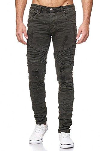 Megastyl Biker-Jeans-Hose Herren Stretch-Denim Slim-Fit Stepp-Design, Größe:W38 / L34, Farbe:Oliv