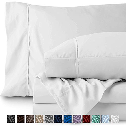 RRlinen Twin Size Sheet Set - Hotel Luxury Bed Sheets - Extra Soft - 18 Inch Deep Pockets - Easy Fit - Breathable & Cooling - Wrinkle Free - Comfy –White Twin Sheets – 4 PC