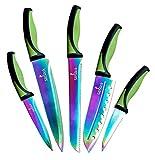 Juego de cuchillos de cocina 5 cuchillos elegantes Cuchillas de acero inoxidable de calidad chef con mangos ergonómicos Revestimiento de titanio con efecto de arco y funda de seguridad (verde)