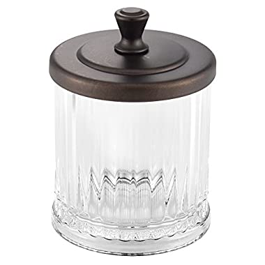 InterDesign Alston Bathroom Vanity Jar – Storage Canister for Cotton Balls, Swabs, Cosmetic Pads, Clear/Bronze