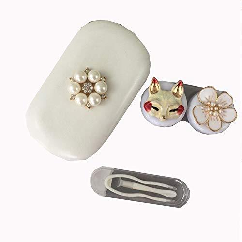 Shuai Mode Kontaktlinsenbehälter, Kaninchen und Linse Reiseetui Fuchs Kontakt, Kontaktlinsen Reiseetui Kit for Aufbewahrungsbox Make-up-Entferner Geschenk (Color : C03)