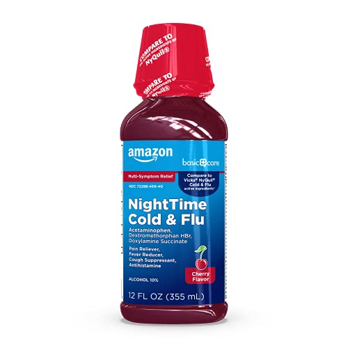 Amazon Basic Care Nighttime Cold and Flu Relief, Pain Reliever, Night Time Cherry, 12 Fl.Oz