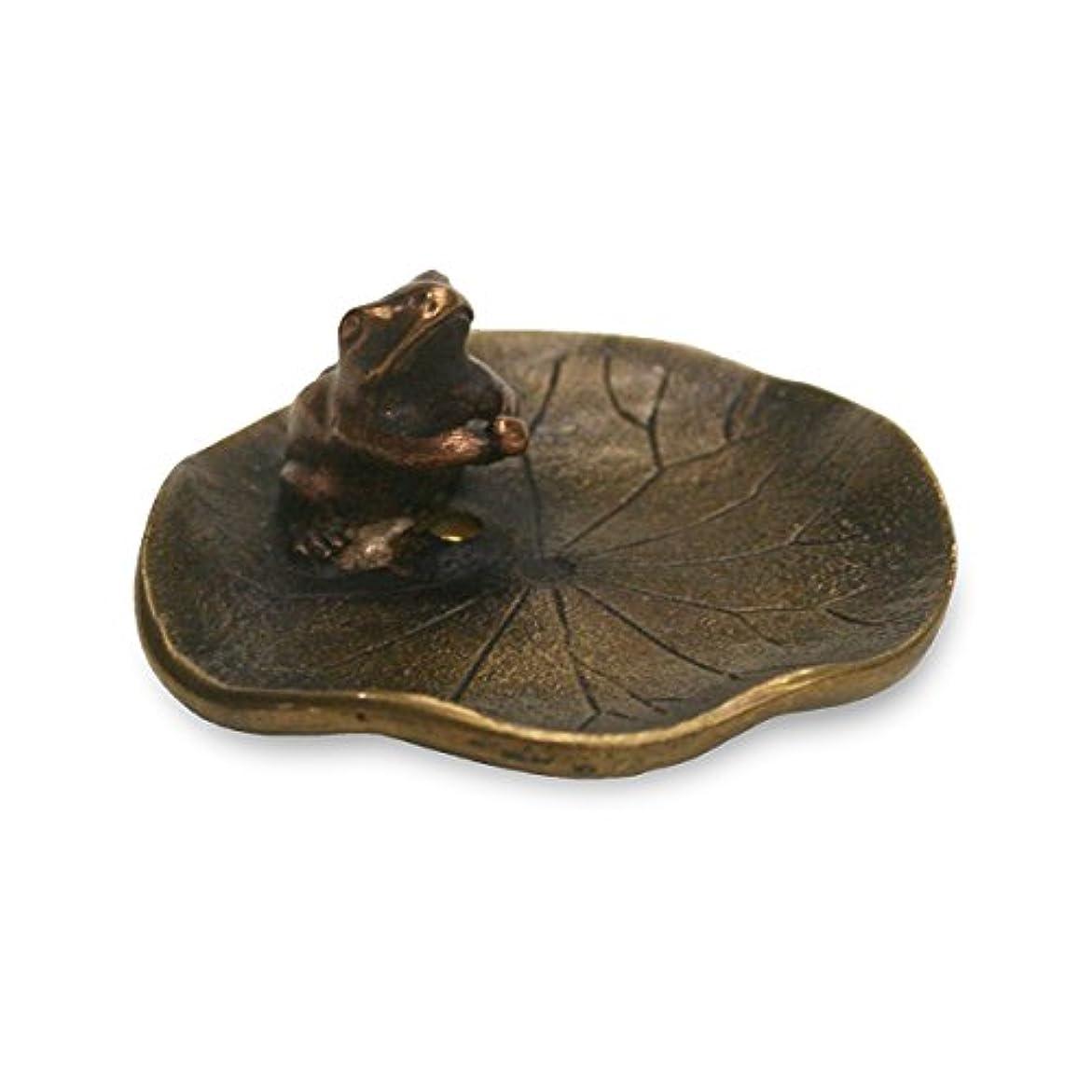 ウェイターキャプション話をする香立?香皿 蓮に蛙 香立て 小 銅製