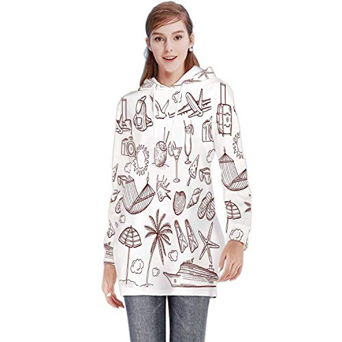 Summer time Theme in Hand Drawn Style.Vector Doodles icon Set - Drawing - Activity,Women's Casual Sweatshirt Hoodies Hammock