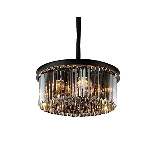 Ronde kristallen Prisma kroonluchter, trommel plafondlamp, zwart gelakt metaal lamplichaam met handgemaakte gouden randen, rookglas plafondlamp diameter 17,71 inch