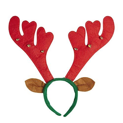 Widmann Festive Red/Green Reindeer Horns Red W/Bells and Ears Headband