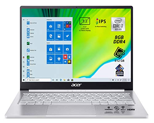 Acer Swift 3 SF313-52-79TZ Pc Portatile, Notebook, Processore Intel Core i7-1065G7, Ram 8 GB DDR4, 512 GB SSD, USB-C, Display 13.5  QHD IPS LED, 3:2, wifi 6, Intel Iris Plus Graphics, Windows 10 Home