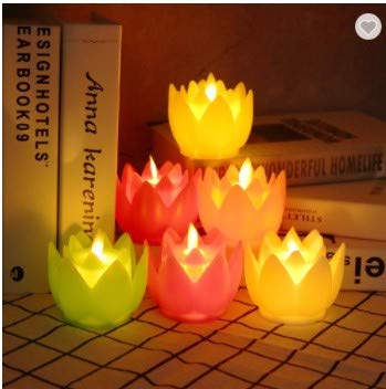 Flameless Candles Lotus Moving Wick-(6 pcs Box) Looking Like Real Flames 7.87.5cm -Smokeless Flickering Dancing - 2CR2032 Coin/Button Batteries - Lotus Flower Shaped Candles (Multi-Colored)