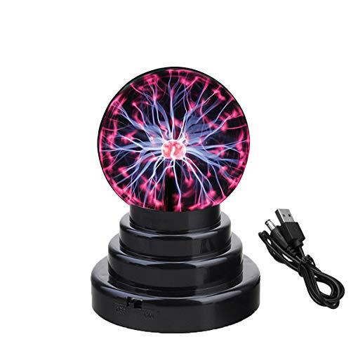 Bola de Plasma Altura 15cm - Globo de la Noche Lampara Lava Plasma Ball USB Sensible al Tacto/Batería Relámpago Decoración Creativa y Regalo de Novedad