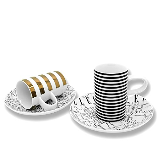 ELLE Plan de Paris Oro ed il nero Tazza Espresso e piattino Set 2 pezzi