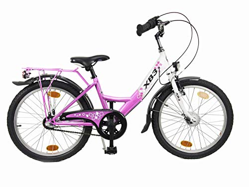 XB3 20 Zoll Kinderfahrrad 25 Lux-LED-Licht Shimano Nabendynamo 3 Gang Nabenschaltung StVZO (weiß/pink)