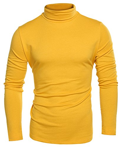 COOFANDY Men's Casual Slim Fit Turtleneck T Shirts Lightweight Basic Tops (Yellow-1, Medium)