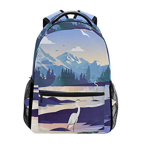 poiuytrew Cranes Backpack Students Shoulder Bags Travel Bag College School Backpacks