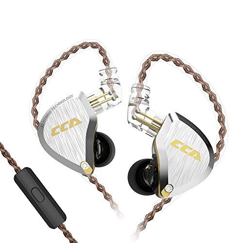 CCA C12インイヤーヘッドフォン 5BA 1DD ハイブリッド 6ドライバー ステレオバス HiFi CCA インイヤーモニター IEM イヤホン ミュージシャンヘッドセット 0.75mm 2ピンイヤホンケーブル付き (マイク付き ゴールド)