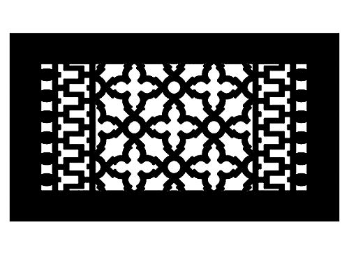 Reggio Register Scroll Series - Cast Iron Metal - Floor Grille 814-NH (12' x 6', Black Without Holes)