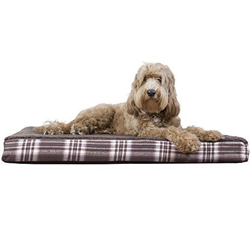 FurHaven Cama para Perro | Deluxe ortopédica de Felpa Kilim colchón Cama para Mascotas para Perros y Gatos, Espuma ortopédica, Marrón (Java Brown), Large