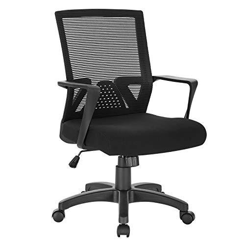 WOLTU® Bürostuhl Schreibtischstuhl Drehstuhl Computerstuhl Mesh PC Stuhl, ergonomisch, mit Armlehne, mit Wippfunktion, Netzbezug, Gestell aus Nylon, höhenverstellbar, Schwarz, BS88sz