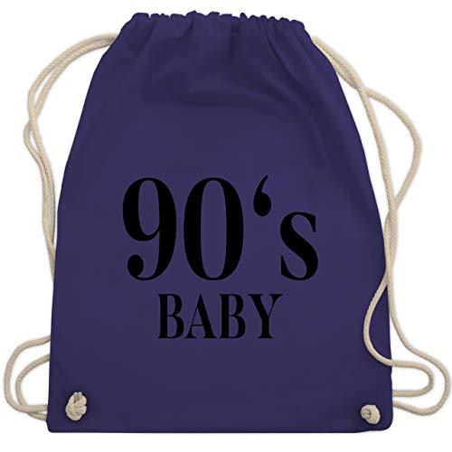 Shirtracer Vintage - 90s Baby Schwarz - Unisize - Lila - Fun - WM110 - Turnbeutel und Stoffbeutel aus Baumwolle