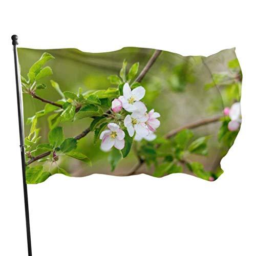NA Banderas De Jardín,Blooming Apple Trees Garden Yard Flag Stand Banderas Decorativas Grandes Al Aire Libre 3X5Ft Colores Vibrantes Calidad Poliéster Y Arandelas De Latón