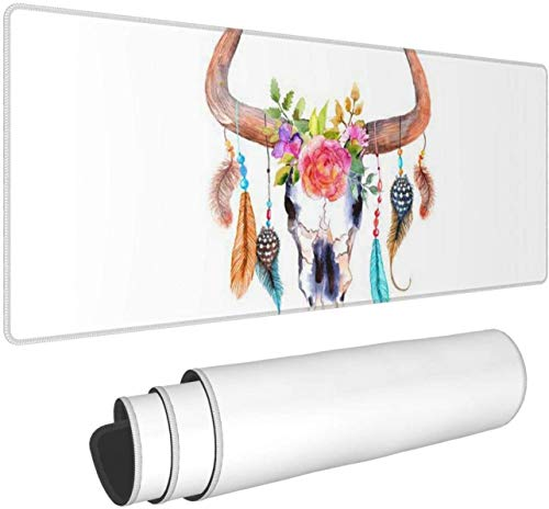 Floral and Longhorn SkullLarge Gaming Mouse Pad XL,Extended Large Mouse Mat Desk Pad, Stitched Edges Mousepad,Long Non-Slip Rubber Base Mice Pad,31.5X11.8 Inch