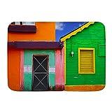 TOVIHUA Felpudo Alfombras de baño,Casas del Caribe en un Esquema de Colores Vibrantes en Isla Mujeres México América Latina Foto,Alfombra de Entrada Antideslizante Alfombras de Puerta de Bienvenida
