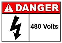 480 Volts Danger 金属板ブリキ看板警告サイン注意サイン表示パネル情報サイン金属安全サイン