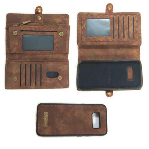 Flip Case Handy-Hülle passend für Samsung Galaxy S8 Plus - Wallet Book Spalt-Leder - Handy-Tasche Schutz-Hülle, Farbe:Braun