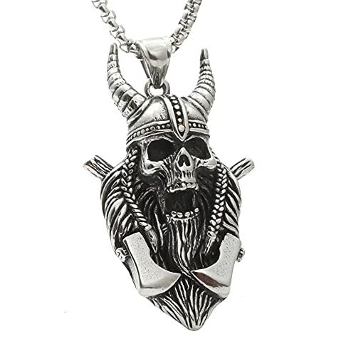 DZXCB Viking Axe Warrior Skull, Colgante Acero Inoxidable para Hombre, Collar Vintage De Motorista Punk, Collar Cadena con Colgante Nórdico, Joyería para Hombre
