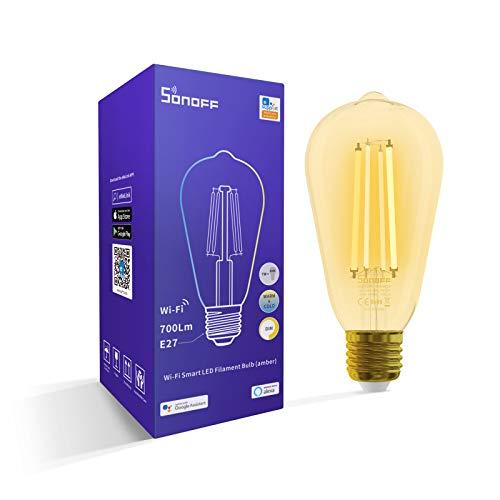 Ampoule Connectée WiFi à Filament E27, SONOFF Ampoule LED 7W Ambre, Ampoule Intelligente Dimmable Compatible avec Amazon Alexa, Google Home, 1800K-5000K 700Lm, Contrôle de Groupe, Aucun Hub Requis